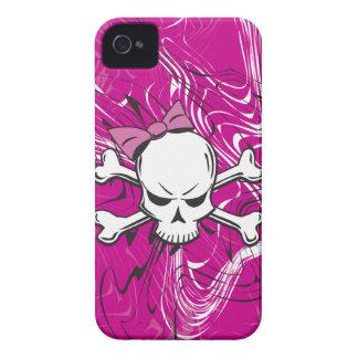 Crânio feminino do gótico com arco cor-de-rosa capa para iPhone 4 Case-Mate