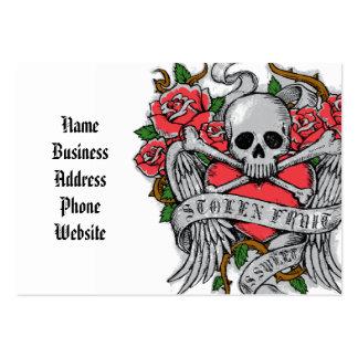 Crânio florido do vintage legal com tatuagem das cartão de visita grande