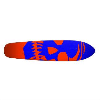 Crânio gigante - azul e laranja shape de skate 18,1cm