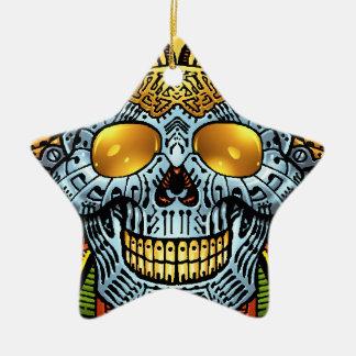 Crânio gótico com armas e balas pelo Al Rio Ornamento De Cerâmica Estrela