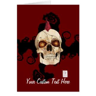 Crânio gótico do punk rock com Mohawk vermelho Cartão