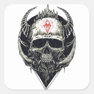Crânio Horned do diabo Adesivo Quadrado