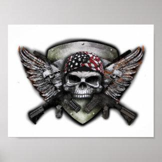 Crânio militar com guerra cruzada do Special da Poster