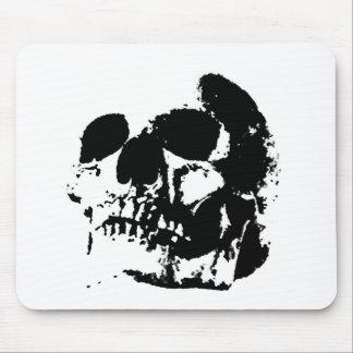 Crânio preto & branco do pop art mousepads