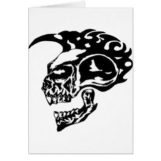 Crânio tribal do tatuagem com Mohawk Cartão Comemorativo