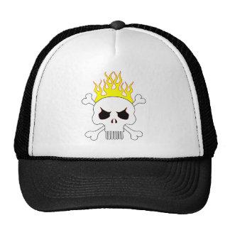 Crânio um com ossos e o chapéu cruzados das chamas boné
