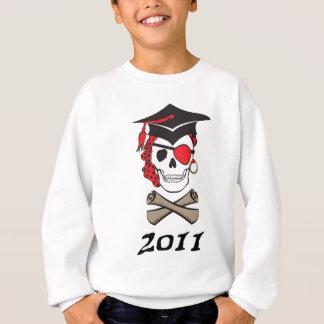 Crânio vermelho do pirata da graduação camisetas