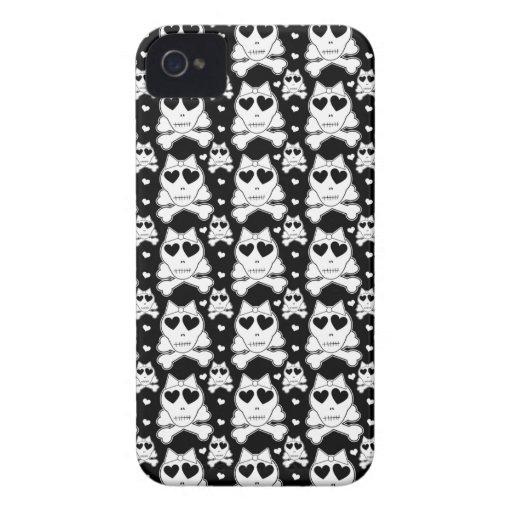 Crânios bonitos com a caixa corajosa de Blackberry Capa De iPhone 4 Case-Mate