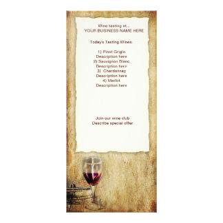 cremalheira de cartão da degustação de vinhos panfletos informativos