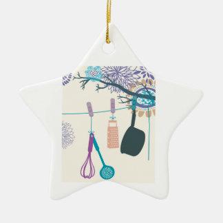 Cremalheiras do pote da cozinha do país em floral. ornamento de cerâmica estrela