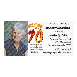 Crepitante no convite da foto de 70 festas de cartão com foto