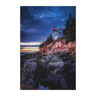 Crepúsculo sobre o farol baixo do porto, Acadia Impressão De Canvas Esticadas