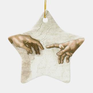 Criação das mãos de Adam - Michelangelo Ornamento De Cerâmica
