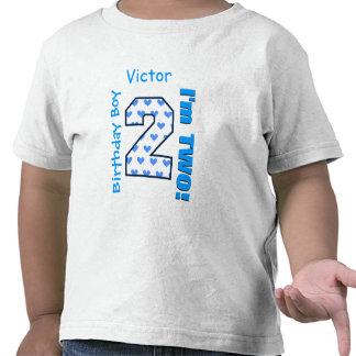 Criança de dois anos azul B02Z dos corações do Tshirts