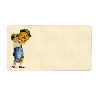 Criança do Dia das Bruxas do vintage Etiqueta De Frete