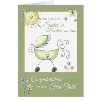 Criança dos parabéns ?a - irmã & marido cartão
