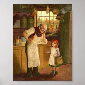 Criança no impressão da arte do vintage da loja ge