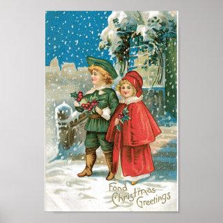 Crianças do natal vintage na neve pôster