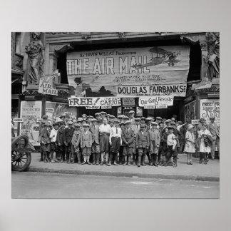 Crianças nos filmes, 1925. Foto do vintage Poster