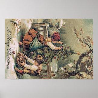 Crianças que decoram a neve da árvore de Natal Poster