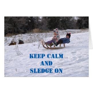 Crianças que sledging cartão comemorativo