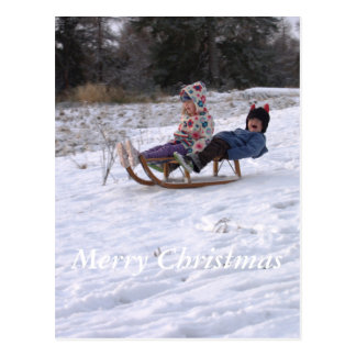 Crianças que sledging cartão postal