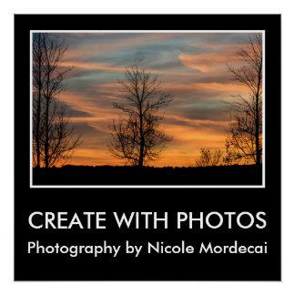 Criar com por do sol das fotos sobre o poster de poster perfeito