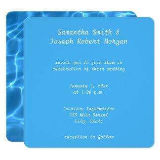 Criar seu próprio casamento da foto da piscina convite quadrado 13.35 x 13.35cm