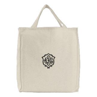 Criar seu próprio saco bordado monograma bolsas para compras
