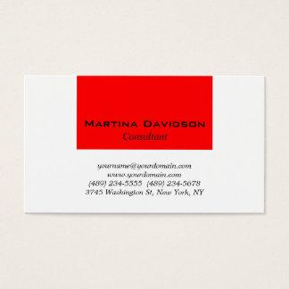 Criativo liso clássico branco vermelho cartão de visitas