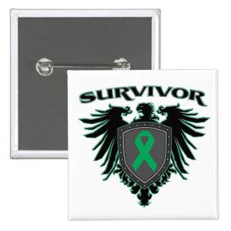Crista do sobrevivente do câncer de figado bóton quadrado 5.08cm