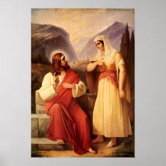 Cristandade do vintage, cristo e o samaritano poster