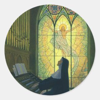 Cristandade do vintage, freira que joga a música n adesivo redondo