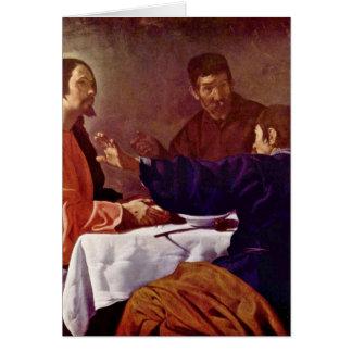 Cristo em Emmaus por Diego Velázquez Cartão Comemorativo