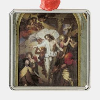 Cristo Resurrected Ornamento Quadrado Cor Prata
