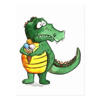Crocodilo com cartão do sorvete