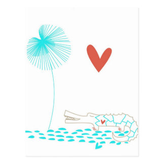 Crocodilo minimalista com a flor do coração e do cartão postal
