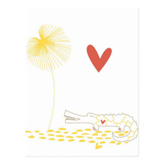 Crocodilo minimalista com coração e a flor amarela cartão postal