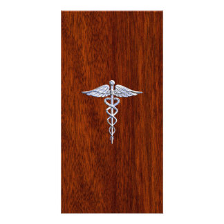 Cromo como o impressão de mogno do símbolo médico cartões com foto personalizados