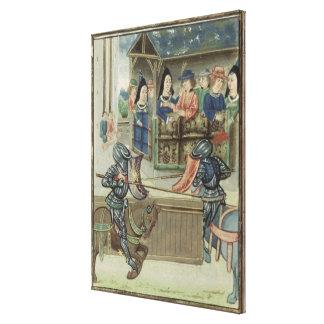 Crónica de Fr.16830 f.16v de Jacques de Lalain (ve Impressão Em Canvas