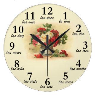 Cronometre com imagem e números do vintage no espa relógio para parede