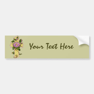 Cruz amarela com flor cor-de-rosa adesivo para carro
