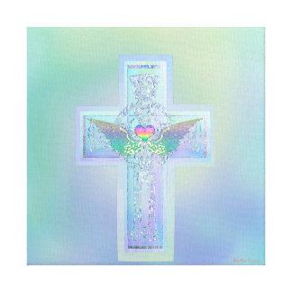 Cruz com asas e coração do anjo impressão em tela