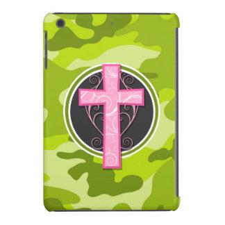 Cruz cor-de-rosa camo verde-claro camuflagem capa iPad mini