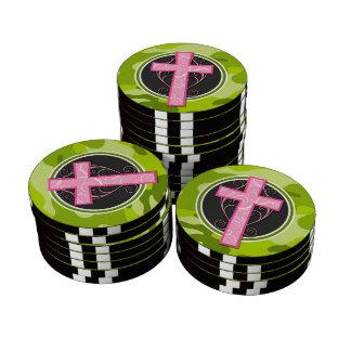 Cruz cor-de-rosa camo verde-claro camuflagem ficha de pôquer