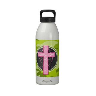 Cruz cor-de-rosa camo verde-claro camuflagem garrafa de água esportiva