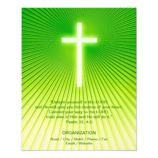 Cruz cristã no fundo verde panfletos personalizados