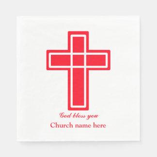 Cruz cristã no vermelho a personalizar guardanapo de papel