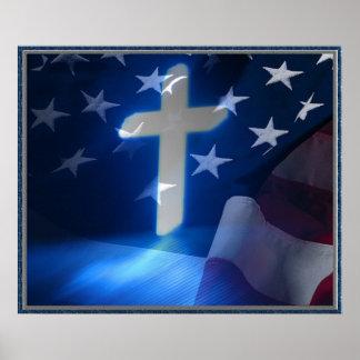 Cruz da bandeira americana e do cristão, fascismo poster