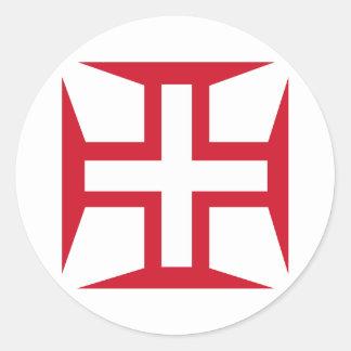 Cruz da ordem de cristo adesivos redondos